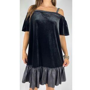 NEW LOOK CURVES Black Velvet Tunic Dress Sz 16-18